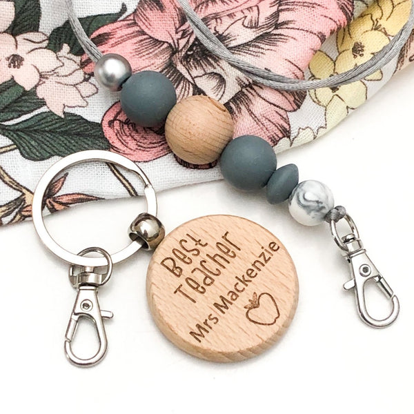 Personalised TEACHER Timber Keyring