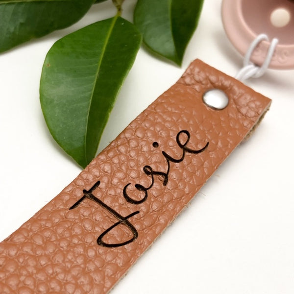 Personalised Leather Silicone Dummy Holder Clip One Chew