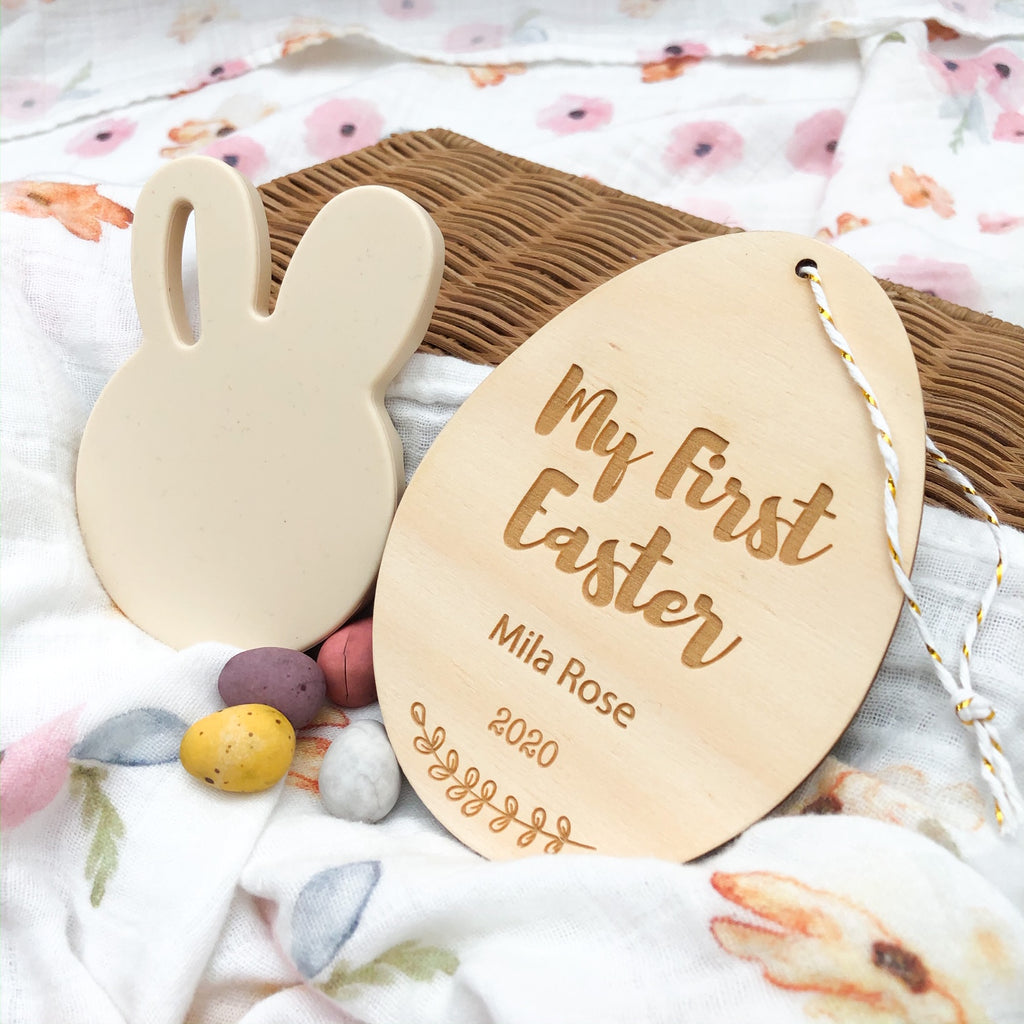Personalised Milestone Plaque - Baby's First Easter -  - ONE.CHEW.THREE Boutique teething, modern accessories