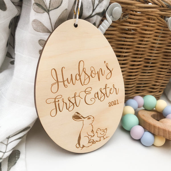 Personalised Hanging Milestone Plaque - First Easter (Easter script / various designs)