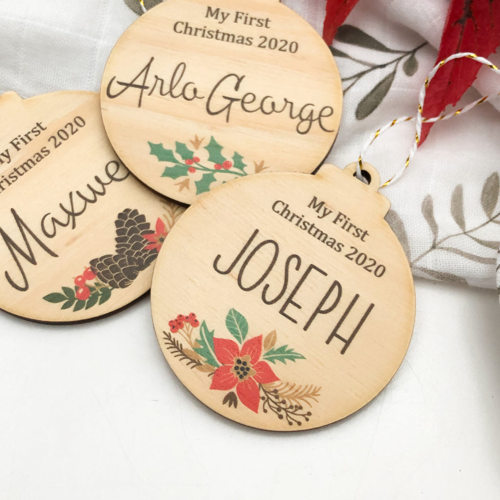 Personalised Christmas baubles - Timber (Colour Print design)