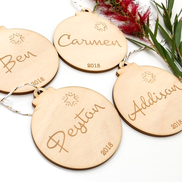 Personalised FAMILY Christmas Baubles -  - ONE.CHEW.THREE Boutique teething, modern accessories