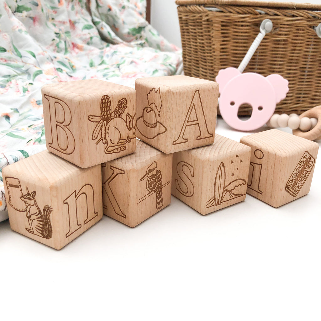 Personalised Wooden Baby Blocks - Australiana Edition