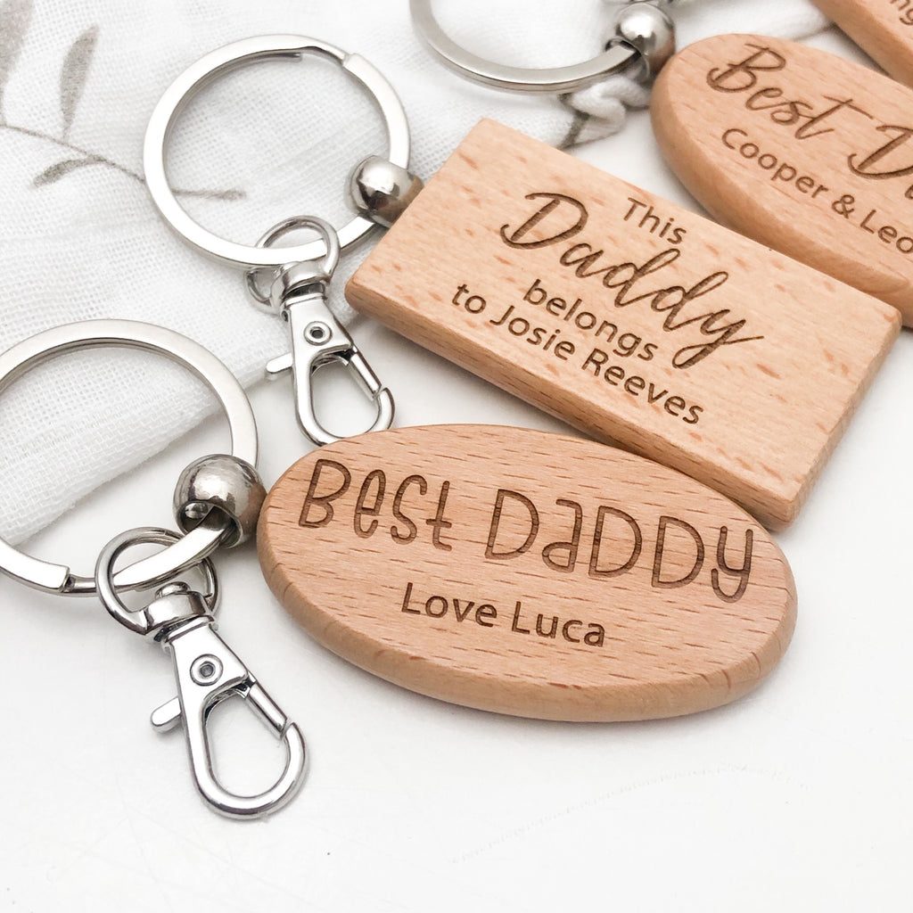 Personalised FAMILY Timber Keyring