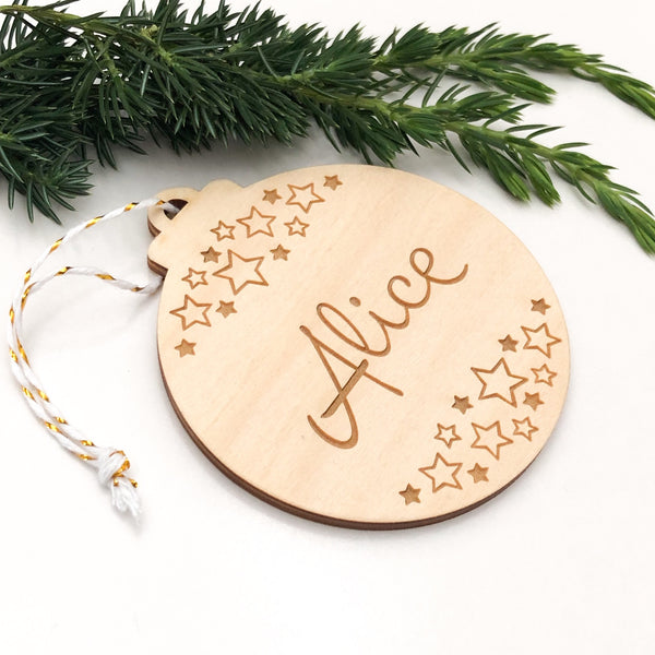 Personalised Christmas baubles - Timber -  - ONE.CHEW.THREE Boutique teething, modern accessories