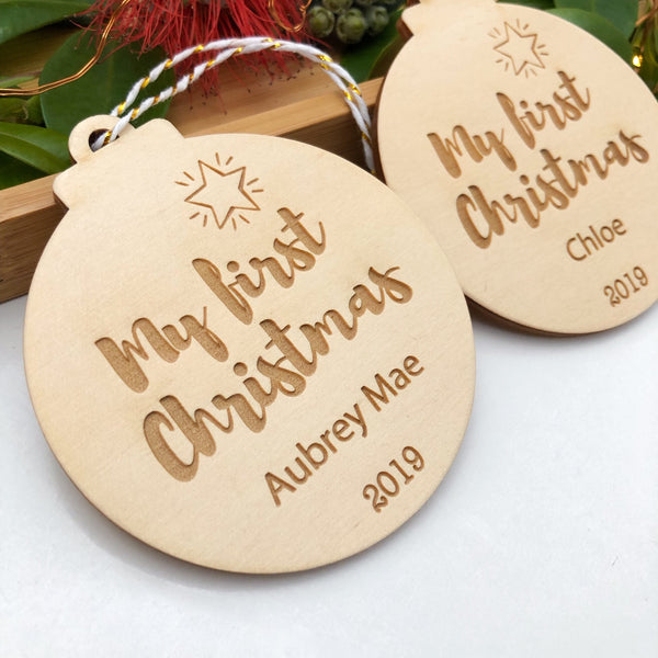 Personalised Christmas bauble - My First Christmas -  - ONE.CHEW.THREE Boutique teething, modern accessories