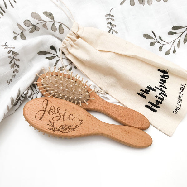 Personalised Wooden Toddler Hairbrush (bristle)