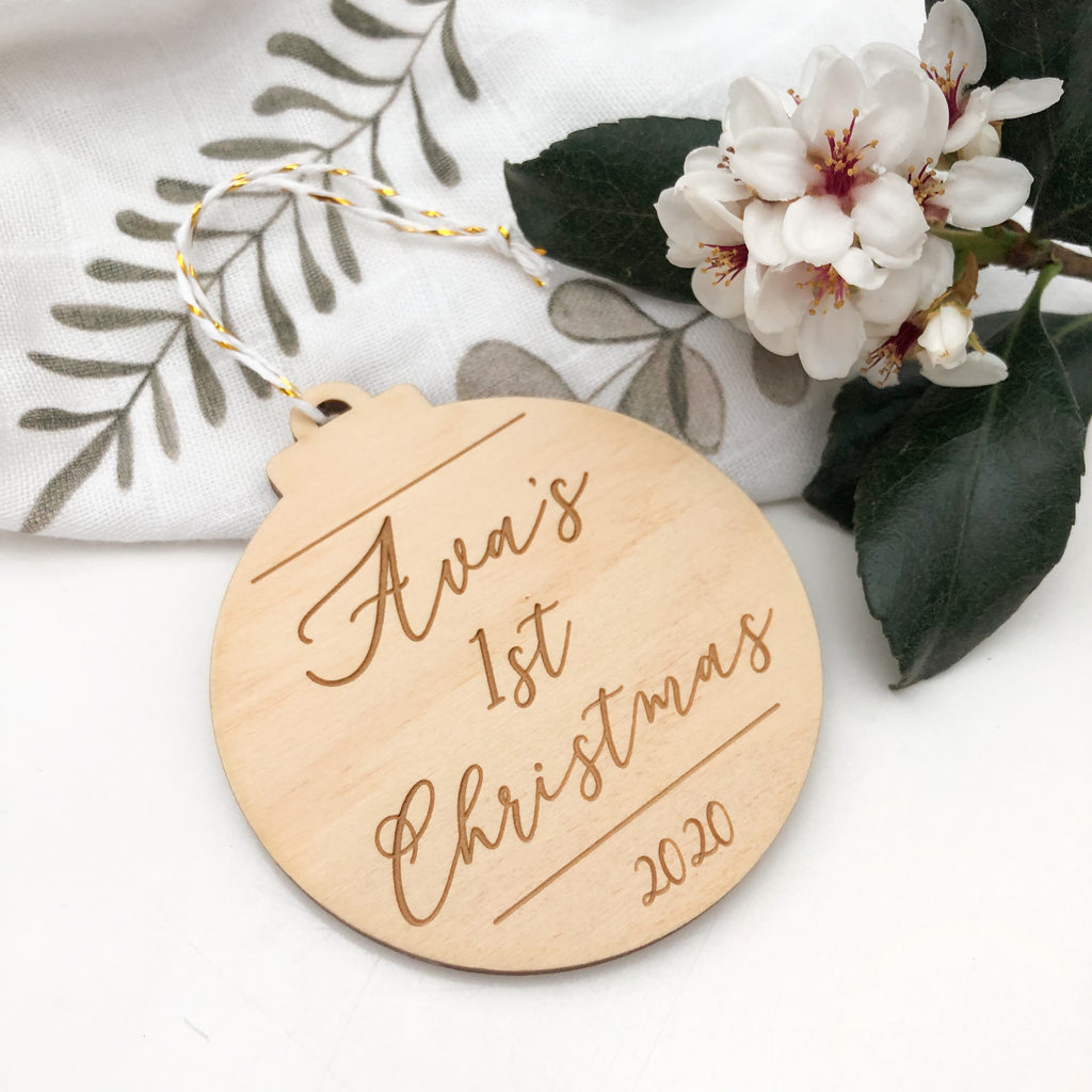 Personalised Christmas bauble - First Christmas Script