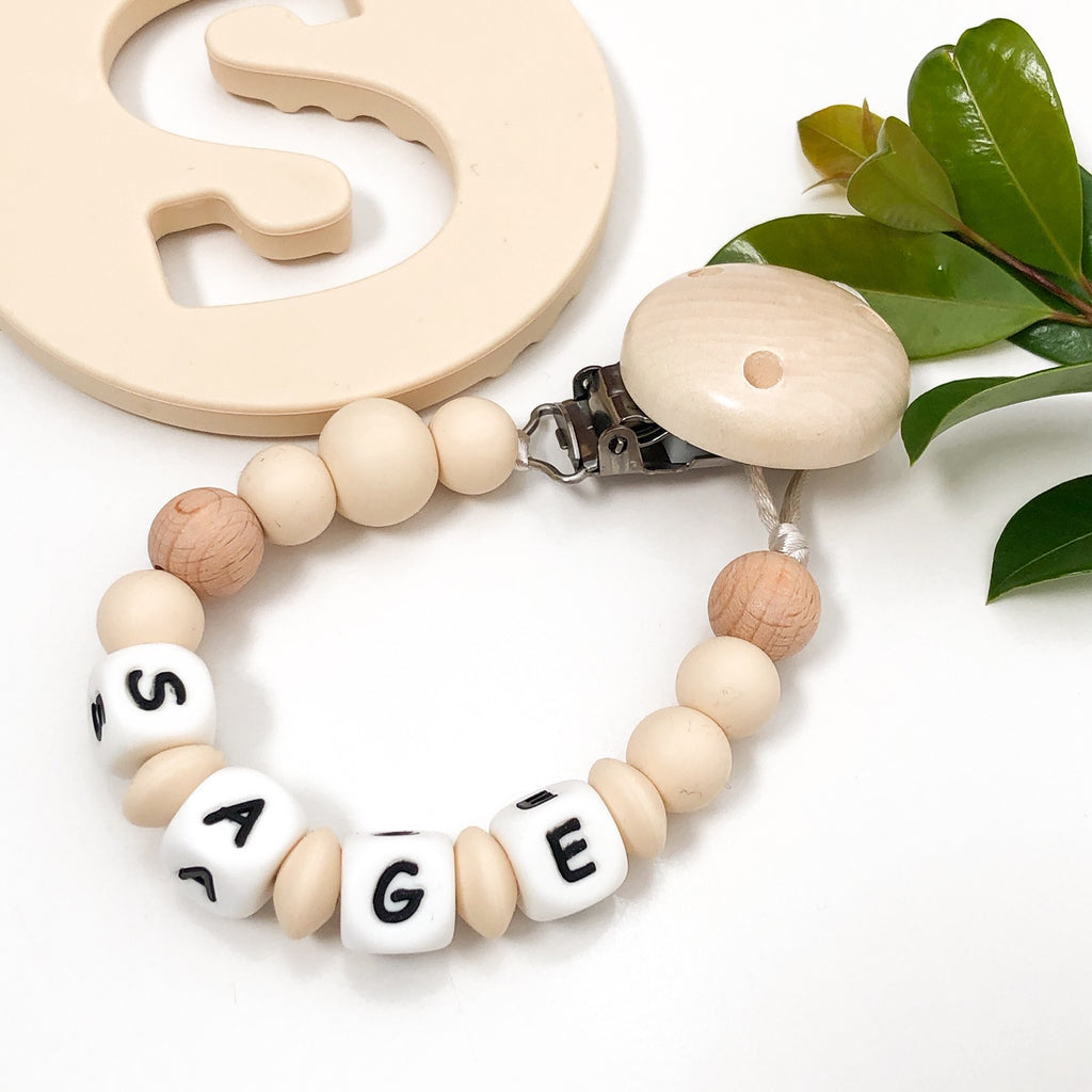 NAME Silicone Dummy Holder - Accessories - ONE.CHEW.THREE Boutique teething, modern accessories