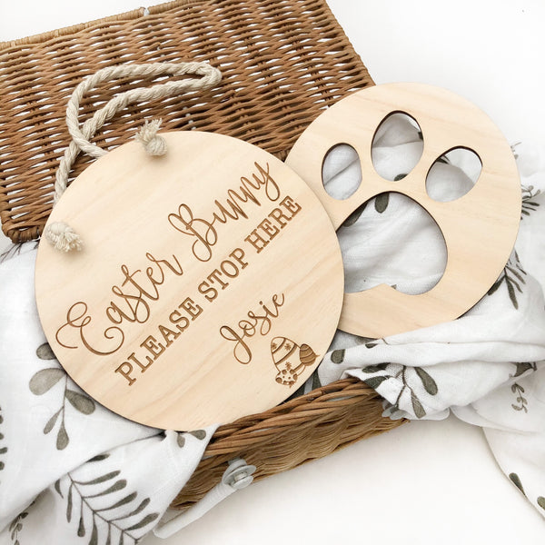 Personalised Easter Bunny Sign and Paw Print Stencil Set