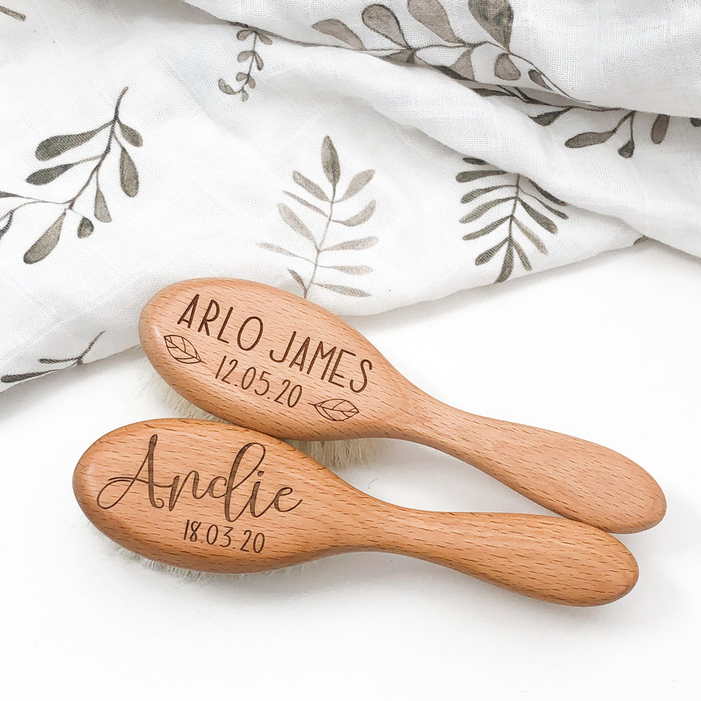 Personalised Wooden Baby Hairbrush (goat hair)