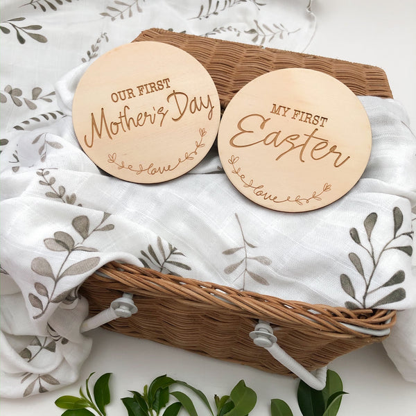 Baby Milestone Plaques - Special Firsts, First Easter, First Mother's Day (various designs) -  - ONE.CHEW.THREE Boutique teething, modern accessories