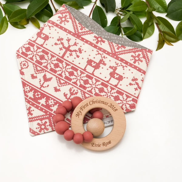 Baby's First Christmas Bib and Teether Gift Set - Teethers - ONE.CHEW.THREE Boutique teething, modern accessories