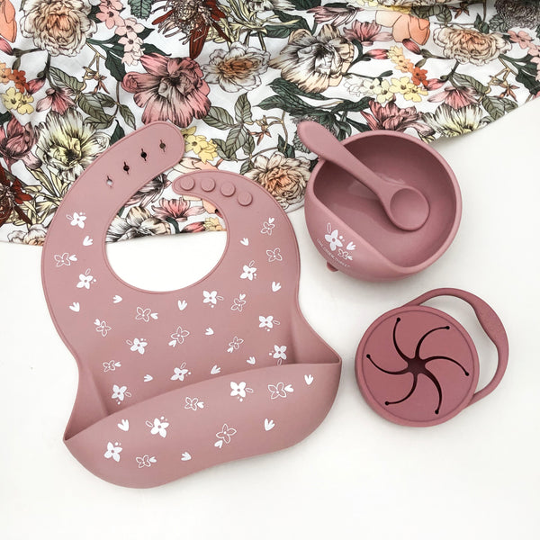 Ultimate Feeding Set - Silicone Bowl, Bib and Snack Cup