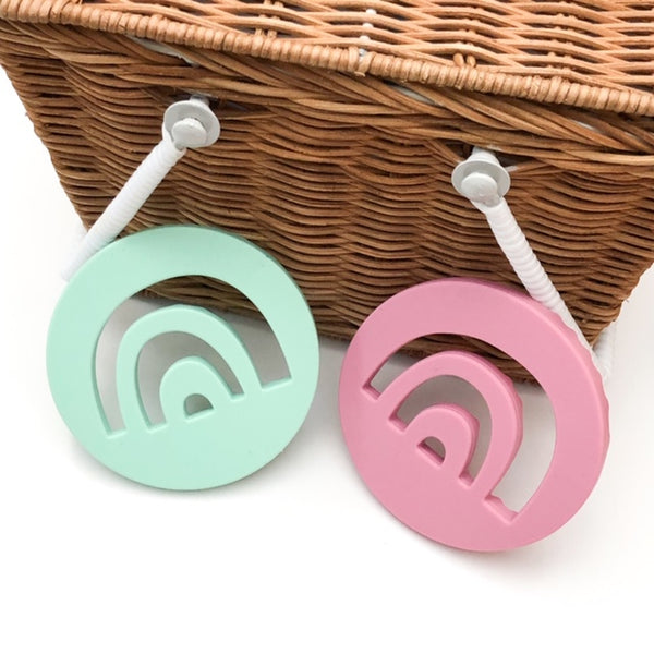 Rainbow Silicone Teething Disc - Teethers - ONE.CHEW.THREE Boutique teething, modern accessories