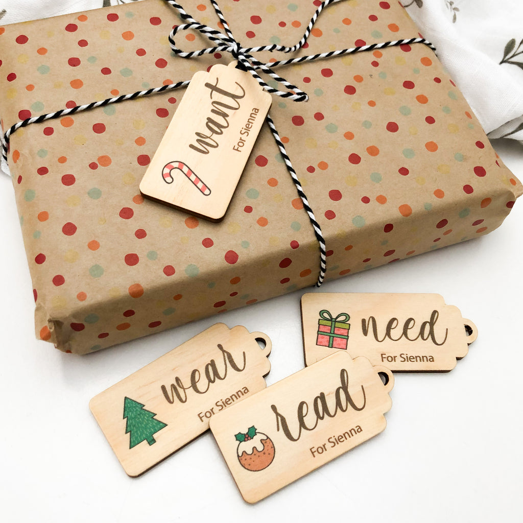 Personalised Simplicity Gift Tags - Timber (Colour Print)