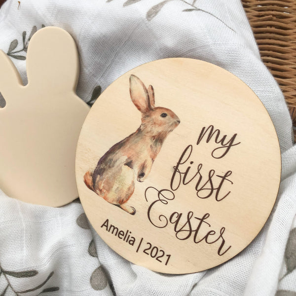 My First Easter Milestone disc - Timber Colour Print (various designs)