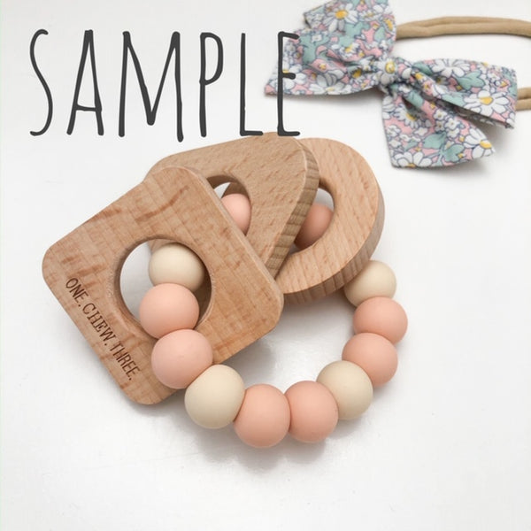 SHAPES Silicone and Beech Wood Teether **Sample Sale** - Teethers - ONE.CHEW.THREE Boutique teething, modern accessories