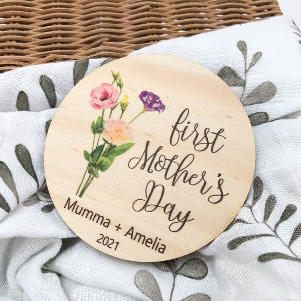 First Mother's Day Milestone disc - Timber Colour Print
