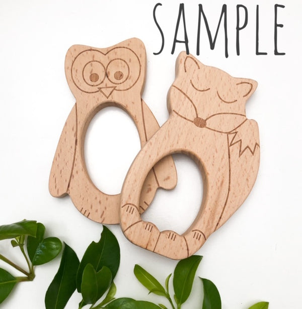 WOODLAND DUO SET - FOX & OWL Beech Wood Teethers **Sample Sale**