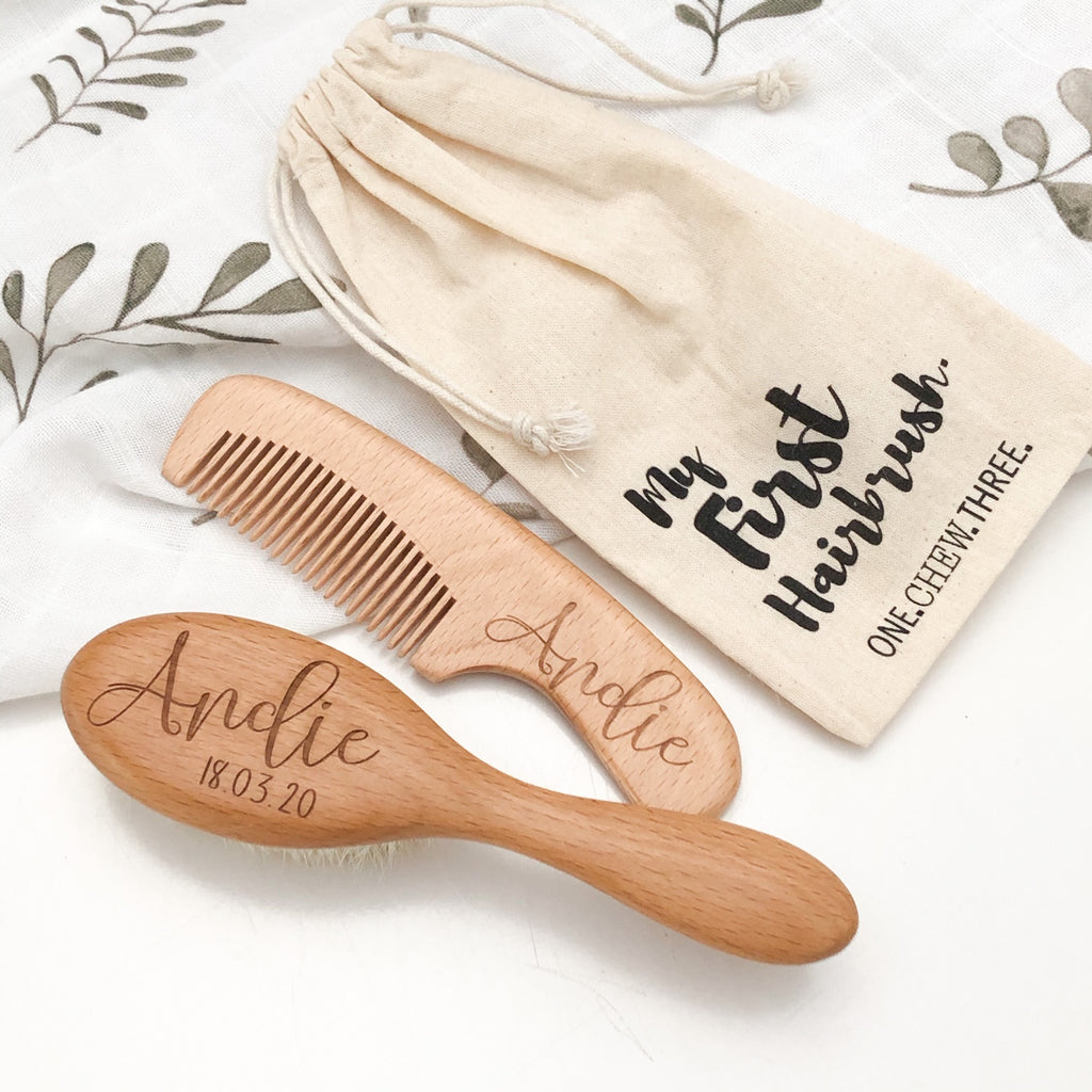 Personalised Baby Hairbrush & Comb Set