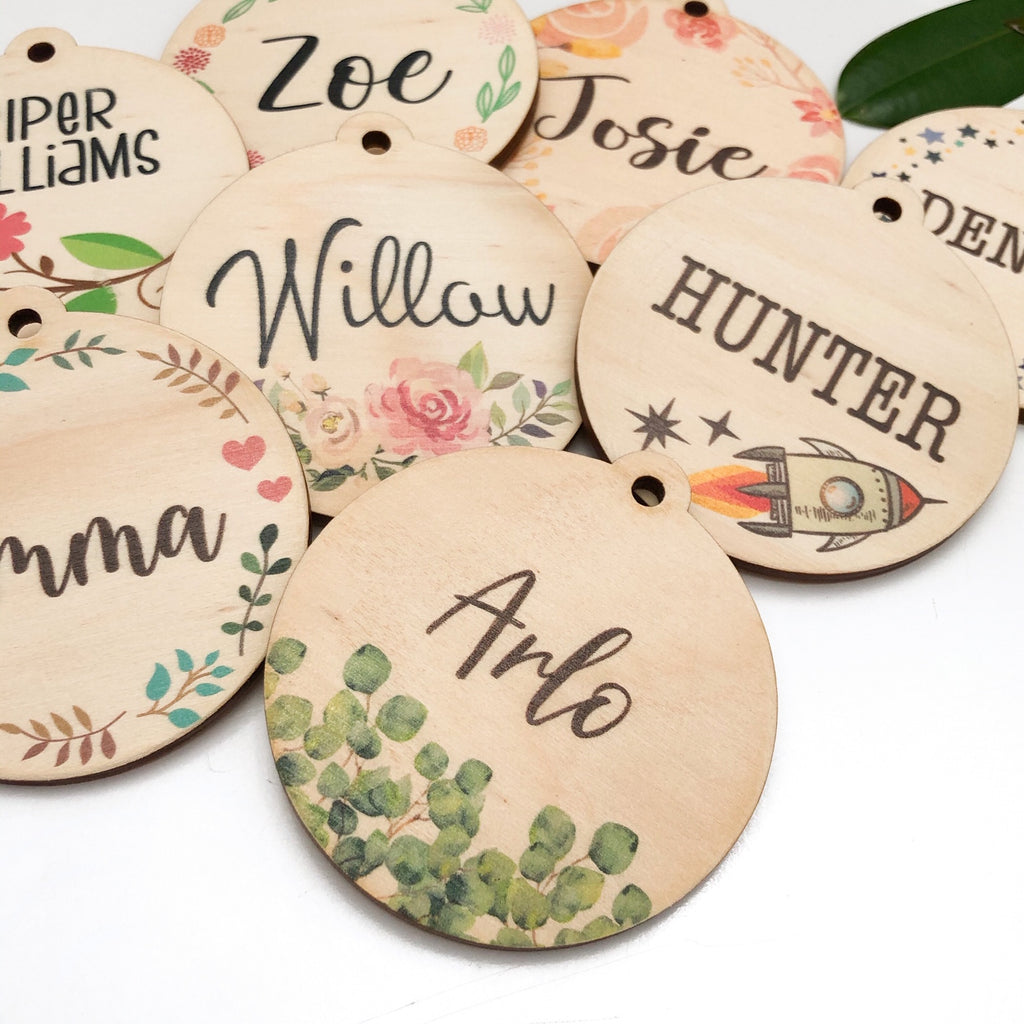 Personalised Bag Tags - Timber (colour designs)