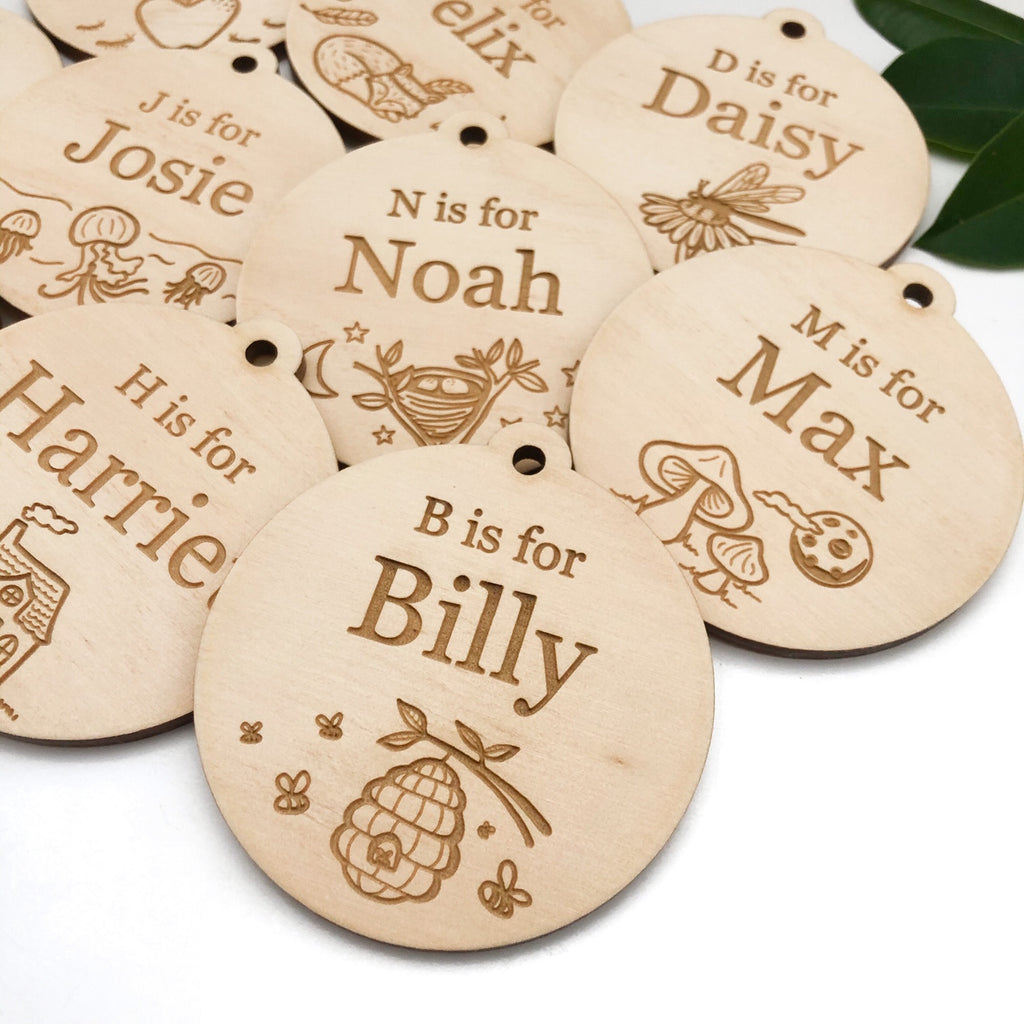 Personalised Bag Tags - Timber (A-Z design)