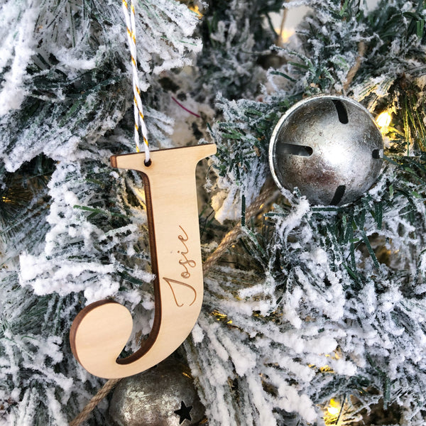 Personalised Christmas baubles / gift tags - Timber Initials