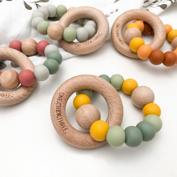 SINGLE RATTLE Silicone and Beech Wood Teether - Australiana Edition