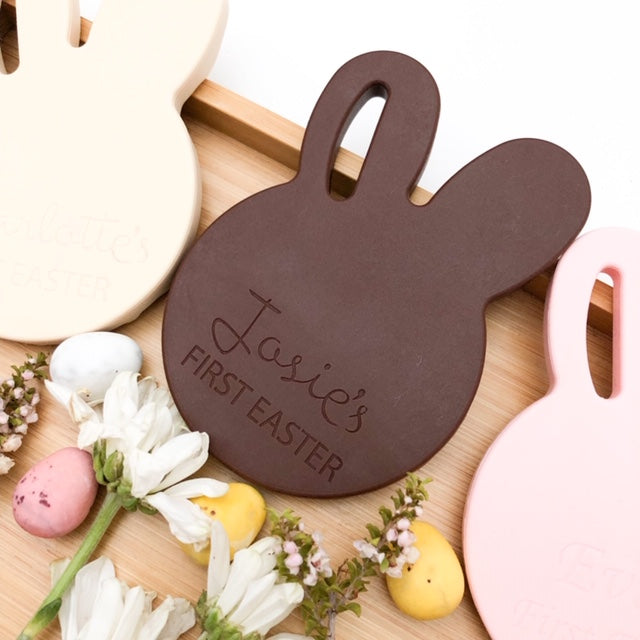 Personalised First Easter BUNNY Silicone Teething Disc - Teethers - ONE.CHEW.THREE Boutique teething, modern accessories
