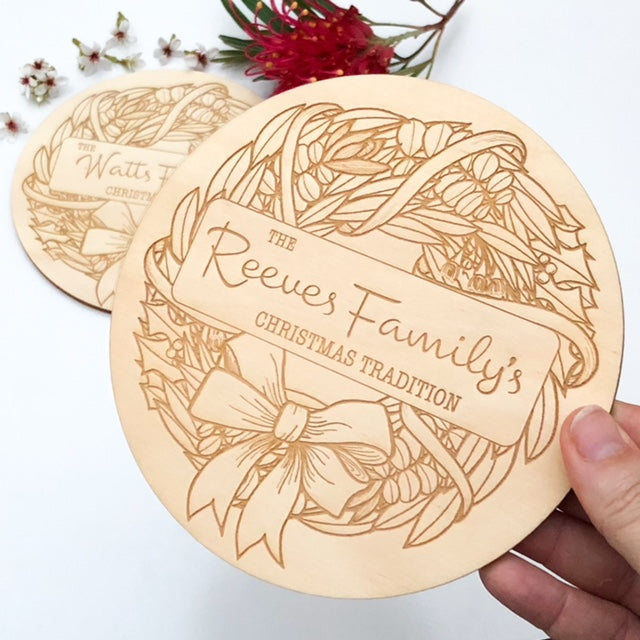Personalised Family Christmas Traditions Timber Plaque -  - ONE.CHEW.THREE Boutique teething, modern accessories