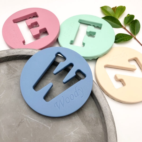 AlphaBET Chews Silicone Letter Teething Disc - Teethers - ONE.CHEW.THREE Boutique teething, modern accessories