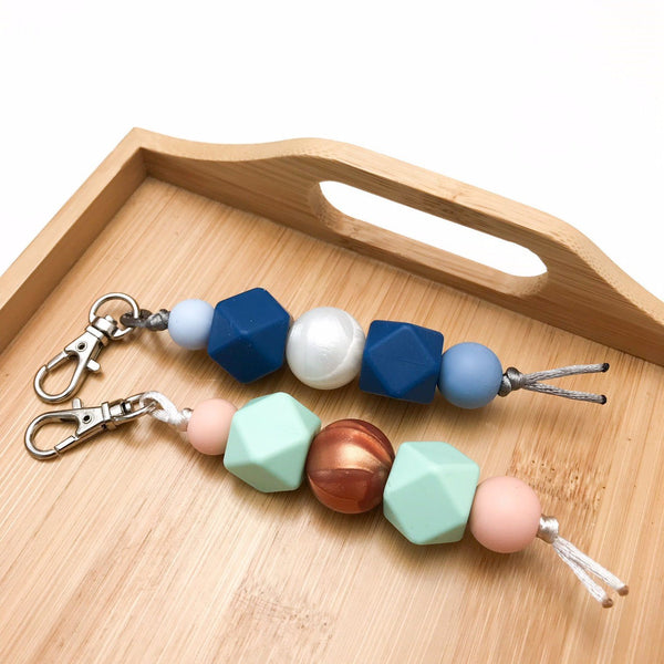 MINI Silicone Key Chain / Nappy Bag Charm - Accessories - ONE.CHEW.THREE Boutique teething, modern accessories