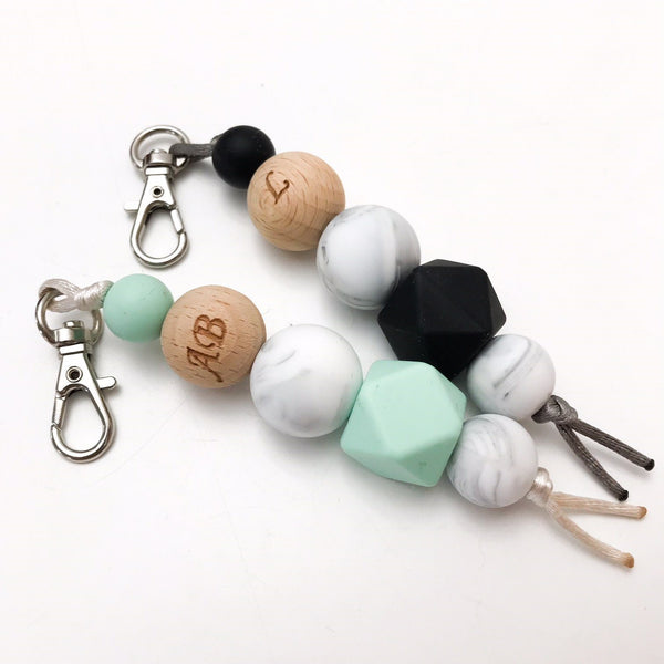 MONOGRAM Silicone Key Chain / Nappy Bag Charm - Accessories - ONE.CHEW.THREE Boutique teething, modern accessories