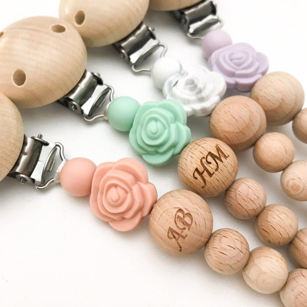 ROSE Monogram Silicone Dummy Holder - Accessories - ONE.CHEW.THREE Boutique teething, modern accessories