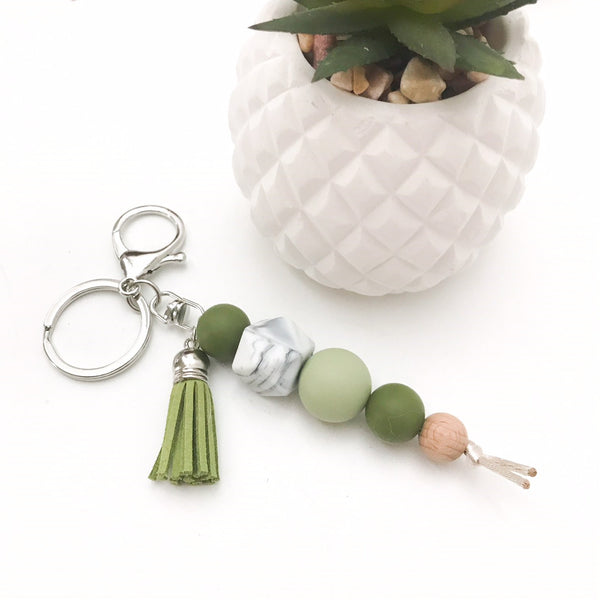 TASSEL Silicone Key Chain / Nappy Bag Charm - Accessories - ONE.CHEW.THREE Boutique teething, modern accessories