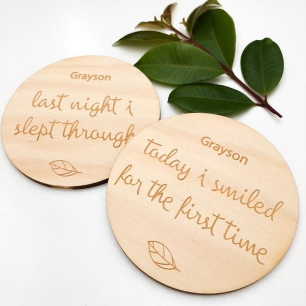 Baby Milestone Plaques - Signature Series (various designs) -  - ONE.CHEW.THREE Boutique teething, modern accessories