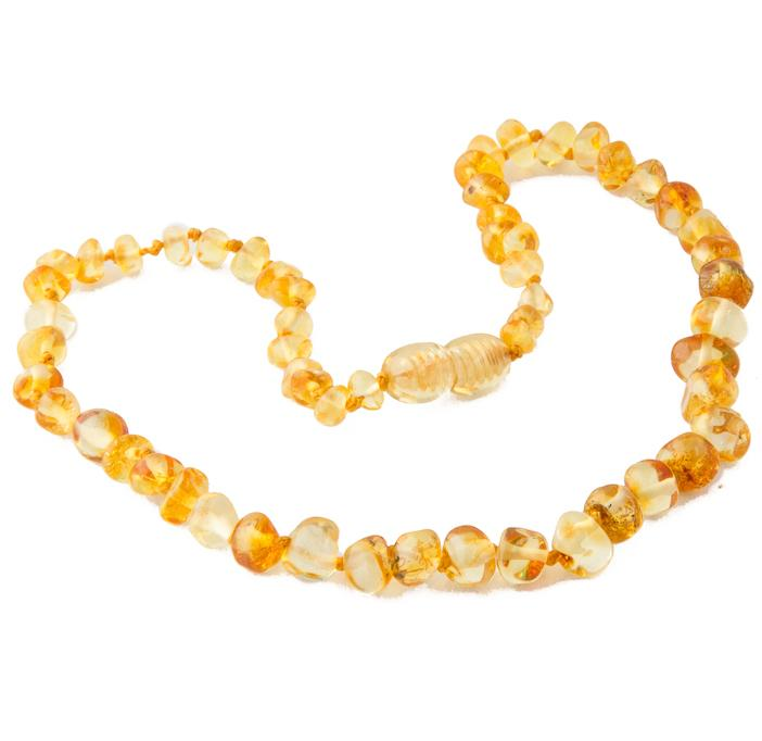Children's Amber Necklace - LEMON BAROQUE (Raw and Polished) -  - ONE.CHEW.THREE Boutique teething, modern accessories