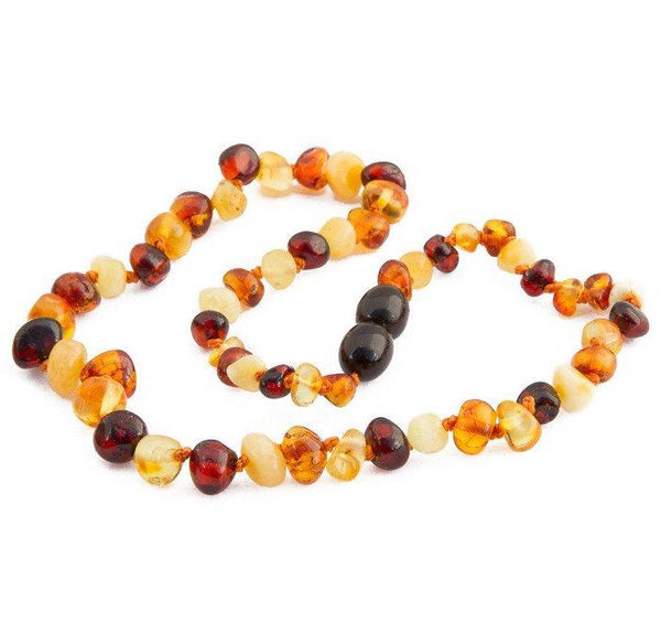 Children's Amber Necklace - MULTI BAROQUE (Raw and Polished) -  - ONE.CHEW.THREE Boutique teething, modern accessories