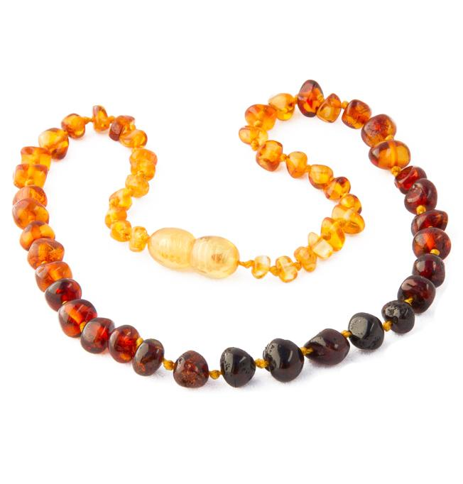 Children's Amber Necklace - RAINBOW BAROQUE (Raw and Polished) -  - ONE.CHEW.THREE Boutique teething, modern accessories