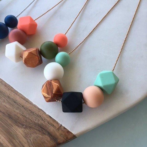 LEXI Silicone on Stainless Chain Necklace - Necklaces - ONE.CHEW.THREE Boutique teething, modern accessories