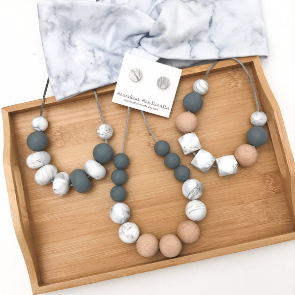 MARBLE MUMMA Silicone Necklace Gift Set - Necklaces - ONE.CHEW.THREE Boutique teething, modern accessories