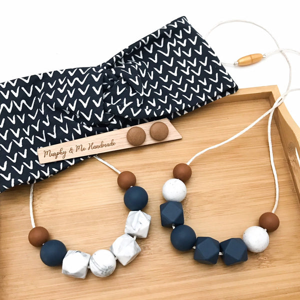 NAVY MUMMA Silicone Necklace Gift Set - Necklaces - ONE.CHEW.THREE Boutique teething, modern accessories