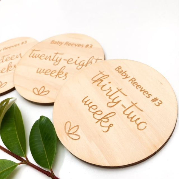 Pregnancy Milestone Plaques - Signature Series (various designs) -  - ONE.CHEW.THREE Boutique teething, modern accessories