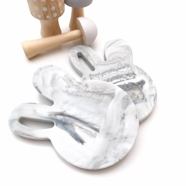 BUNNY Silicone Teething Disc - Marble **Sample Sale** - Teethers - ONE.CHEW.THREE Boutique teething, modern accessories