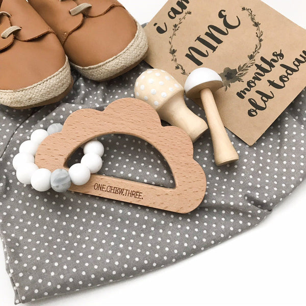 CLOUD Silicone and Beech Wood Teether - Teethers - ONE.CHEW.THREE Boutique teething, modern accessories