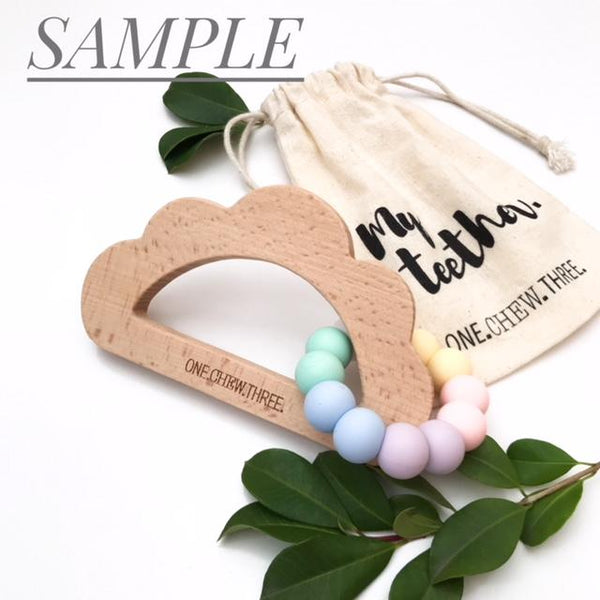 CLOUD Silicone and Beech Wood Teether **Sample Sale** - Teethers - ONE.CHEW.THREE Boutique teething, modern accessories