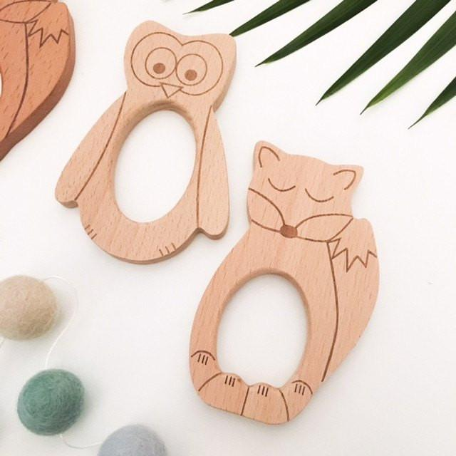 DUO SET - SLEEPY FOX & WISE OWL Beech Wood Teethers - Teethers - ONE.CHEW.THREE Boutique teething, modern accessories