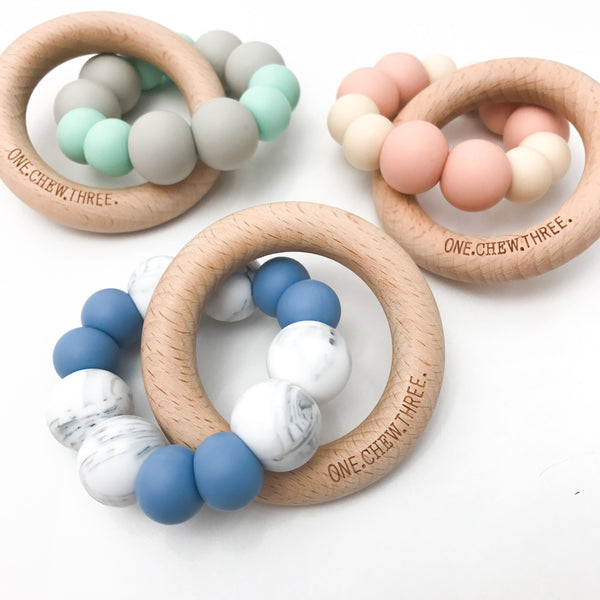 DUO Silicone and Beech Wood Teether - Teethers - ONE.CHEW.THREE Boutique teething, modern accessories