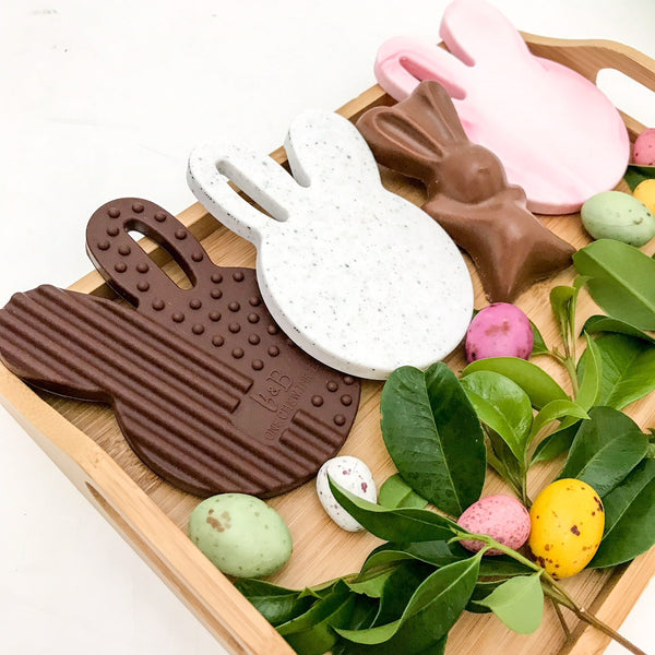 Easter Edition CHOCOLATE BUNNY Silicone Teething Disc - Teethers - ONE.CHEW.THREE Boutique teething, modern accessories